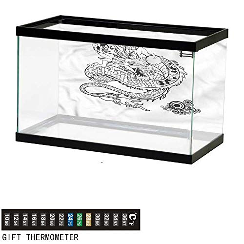 bybyhome Fish Tank Backdrop Japanese Dragon,Tattoo Art Reptile,Aquarium Background,36