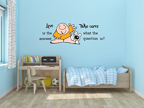 Ottosdecal Love is The Answer Cartoon Character Quote - Wall Decal Vinyl Sticker for Home Interior Decoration Bedroom, Window, Mirror, Car (10