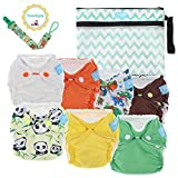 Premium Organic Reusable Cloth Diapers –Set of 7 –For Full Term & Preemie Babies –Breathable W/ Waterproof Cover –Bonus Wet & Dry Reusable Diaper Bag & Pacifier Clip –Perfect Baby Shower Gift(7 Mixed)