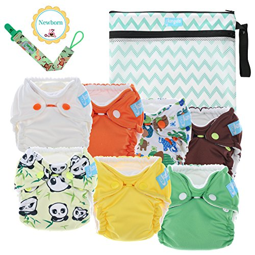 Premium Organic Reusable Cloth Diapers -Set of 7 -for Full Term & Preemie Babies -Breathable W/Waterproof Cover -Bonus Wet & Dry Reusable Diaper Bag & Pacifier Clip -Perfect Baby Shower Gift(7 Mixed)