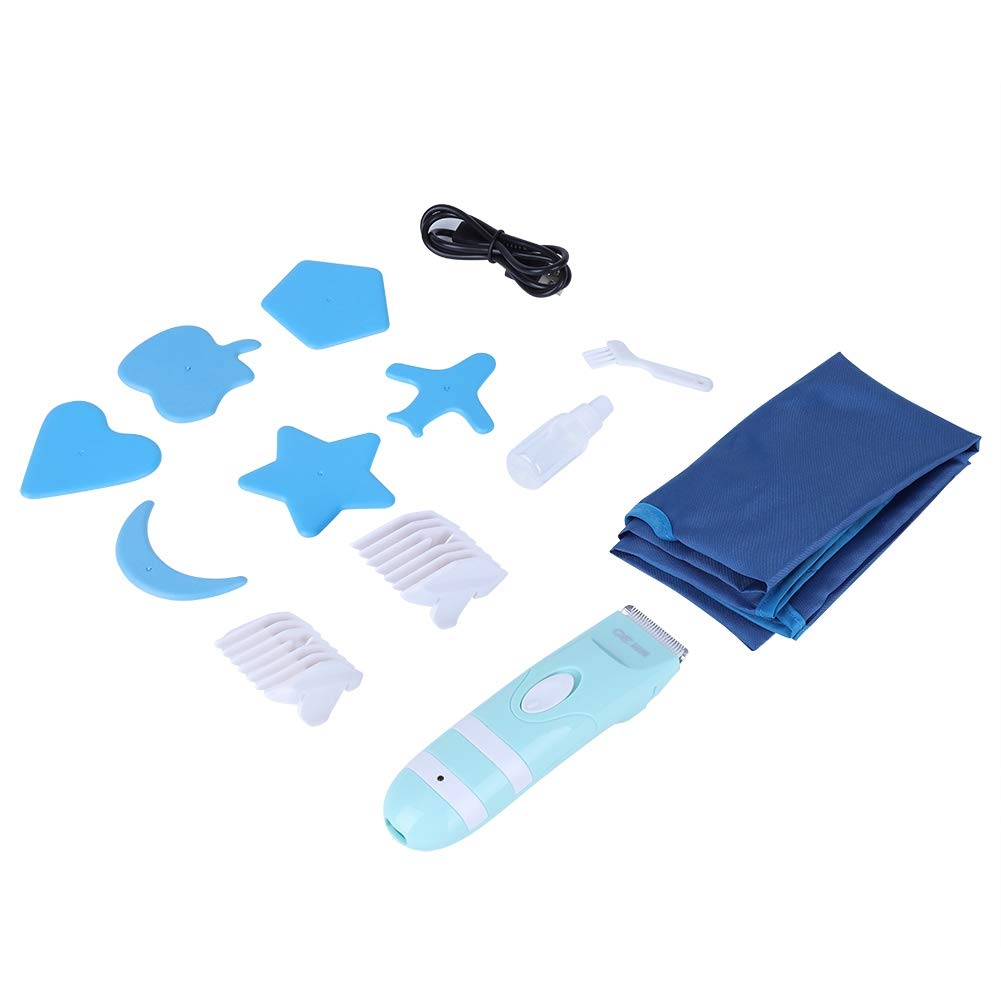 Baby Hair Trimmer, Blue ABS USB Electric Mute Waterproof Haircut Trimmer Tool with 2 Guide Combs & 6 Hair Styling Mold for Infants Kids Children Boys and Girls by Estink-