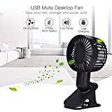 Small Table Fan For Office Desk,Mini Clip Fan Air Cooling 2 Speed Adjustable Portable USB Clip-On Fans for Home Office Bedside Ultra-Silent Double Blades Table Fan Small fans-Black