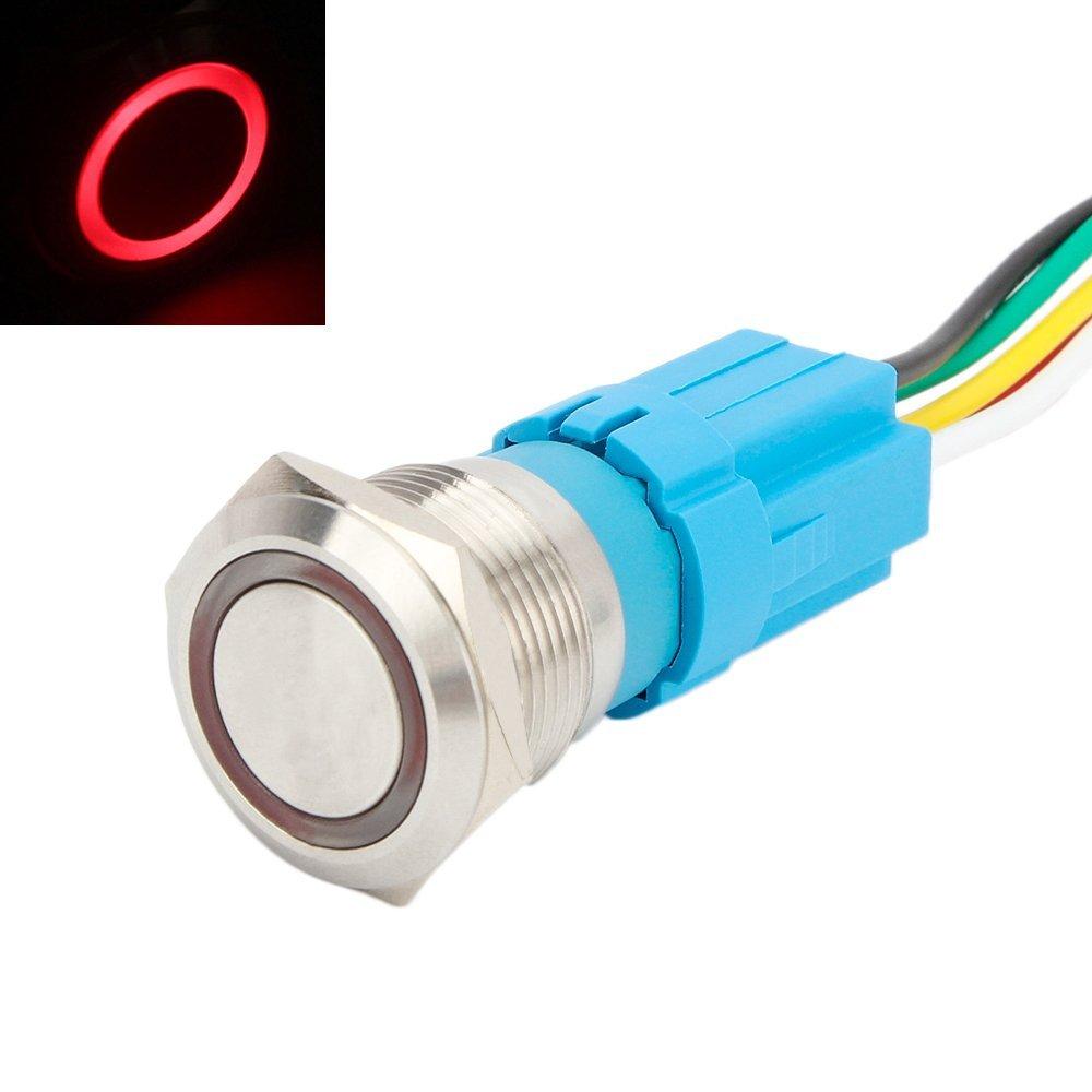 SENZEAL Druckknopf Edelstahl Druckschalter 12V 19mm 0.75Inch EIN Aus Schalter LED Beleuchtet mit Steckdose Rot