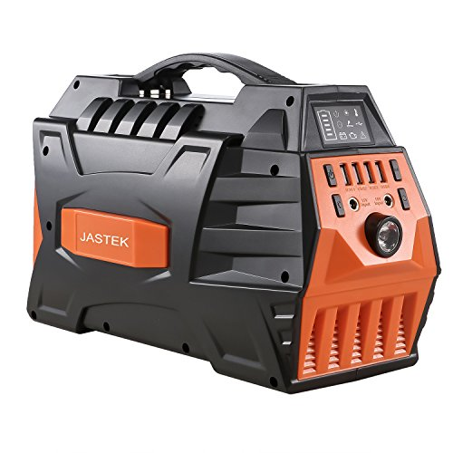JASTEK Portable Generator Uninterruptible Power Supply Pure Sine Wave Inverter with Dual 110V AC Outlet and 4 USB Ports for Camping and Indoors - Black
