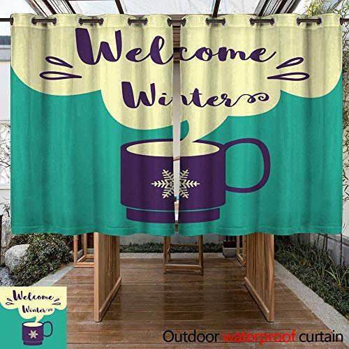 (Outdoor Curtain for Patio Welcome Winter Card with a Cup of Coffee W63 x L72)