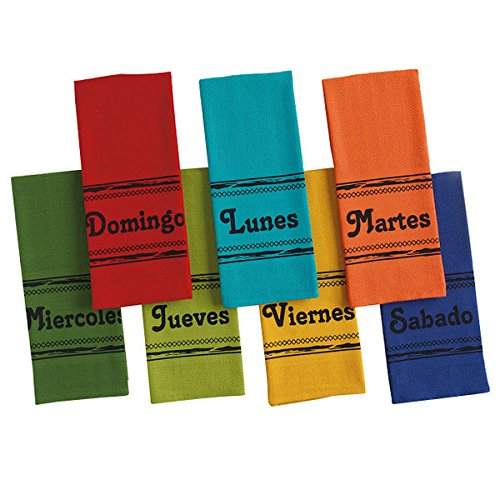 Bright Spanish Days of the Week Kitchen Dish Towel - Set of 7