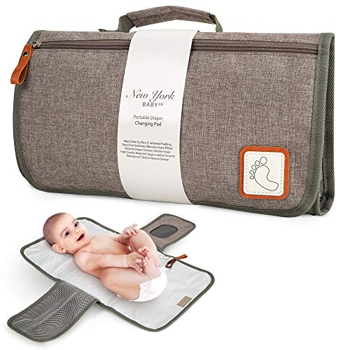 Portable Diaper Changing Pad | Waterproof Portable Changing Pad Station | Baby Changing Pad Mat for Moms, Dads and Babies | One Handed Use | Memory Foam Pillow | Pockets for Diapers, Wipes and Creams