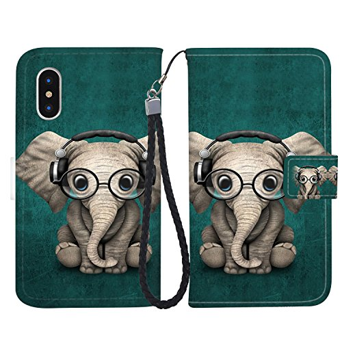 iPhone X Case, iPhone X Wallet Case, Fashion PU Leather Magnetic Folio Wallet Case [Wrist Strap] with ID&Credit Card Slots and Kickstand for iPhone X - Baby Elephant