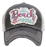 Kbethos Trading Beach Please Women's Vintage Cotton Mesh Baseball Hat (Grey)