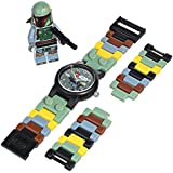 LEGO Kids' 9003363 Star Wars Boba Fett Plastic Watch with Link Bracelet and Minifigure