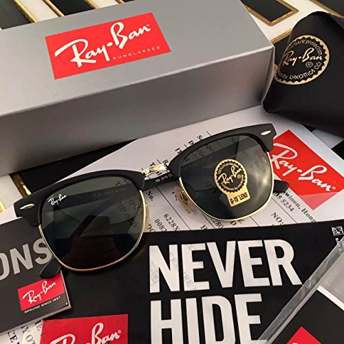 RB3016 clubmaster Polarized unisex Sunglasses Brand Designer Glass lenses - Rb3016