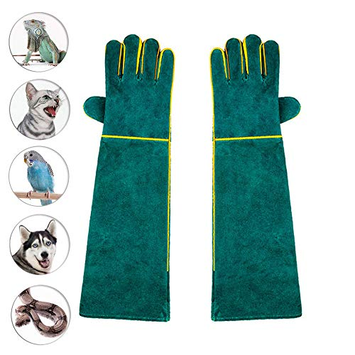 (Womdee Animal Handling Gloves Bite Proof 23Inch, Thickened Cowhide Dog,Cat Scratch,Bird Handling Falcon Gloves Grabbing,Reptile Squirrel Snake Bite)