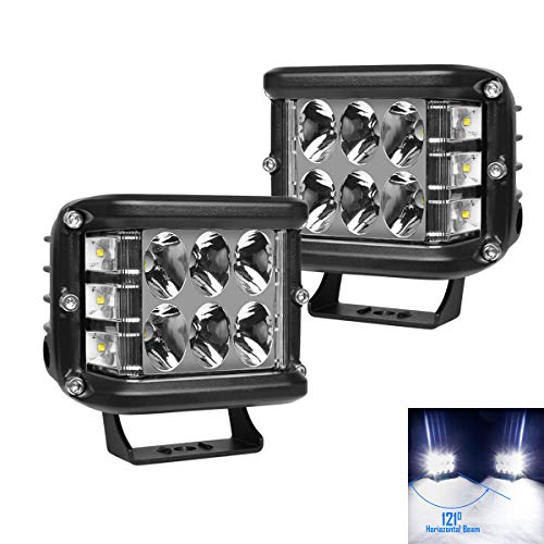 WGL 2Pcs 4Inch 60W Side Shooter LED Cubes Work Lights Off Road Driving Light Spot Flood Combo White Warn Strobe Fit for Jeep Truck ATV SUV Boat (Best Warn Driving Lights)