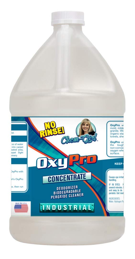Chem-Girl | OXYPRO Biodegradable Peroxide Spot & Stain Remover Concentrate | Surface Cleaning, Carpet, Upholstery, Tile & Grout, Laundry, Hard Water, Rust - 1 Gallon