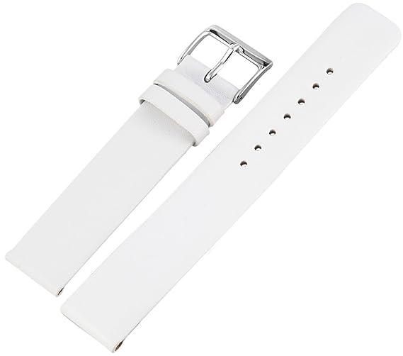 Correa de la correa de reloj de pulsera de cuero blanco sin soldadura de 18 mm 891820001018: Amazon.es: Relojes
