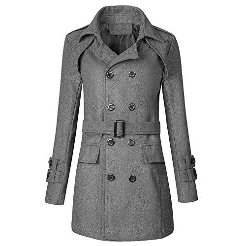 Veste Manches Outwear Zahuihuim Ceinture Long Couleur Slim Pour Coat Manteau Buttons Unie Gris Avec Longues D'hiver Hommes Chauds Trench De 5UxYBnqPwz