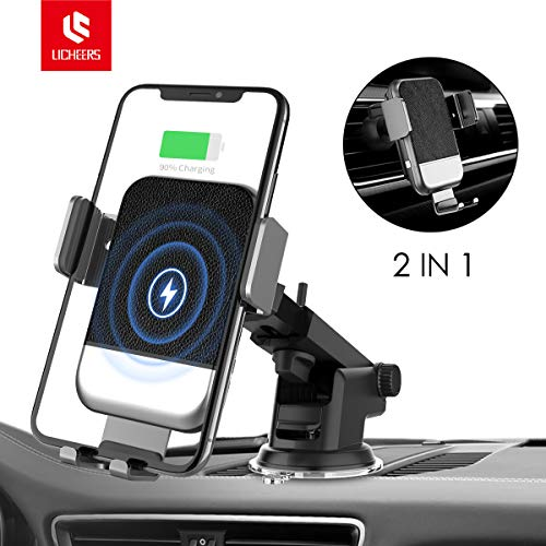 Wireless Car Charger, licheers Auto-Clamp Car Charging Mount 10W/7.5W Qi Fast Charging Windshield Dashboard Air Vent Phone Holder Compatible for iPhone XS/XR/X/8/8Plus Samsung S9/S8/Note 8 and More