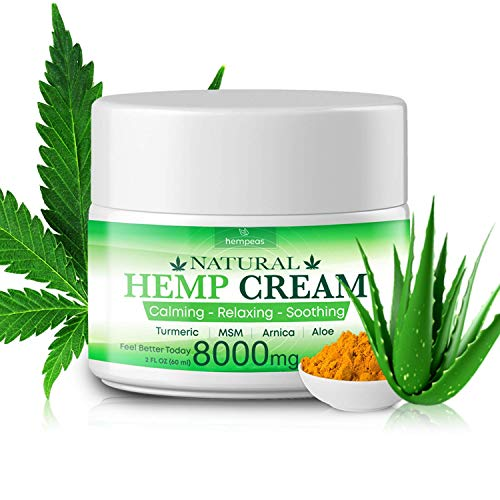 (Hempeas Organic Hemp Pain Relief Cream, 8000 Mg, Made in USA, Non-GMO, Natural Hemp Extract Cream for Joint, Muscle, Back, Neck, Knee Pain with Arnica, Aloe, MSM & EMU Oil )