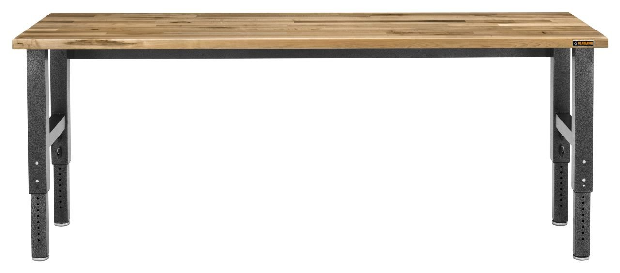 8' Adjustable Height Hardwood Workbench with Hammered Granite Finish