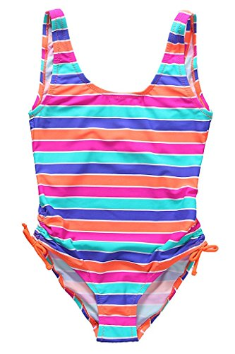 BeautyIn Girls Mulit Color Stripe Boyleg One Piece Swimsuit Swimwear Beachwear 7 (Monster High Girls Names)