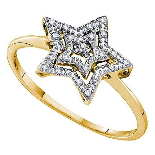 Dazzlingrock Collection 0.04 Carat (ctw) 10K Round Cut White Diamond Ladies Cluster Star Ring, Yellow Gold