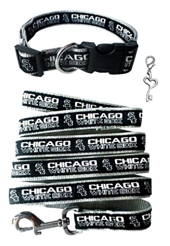 Chicago White Sox Nylon Collar and Matching Leash for Pets (MLB Official by Pets First - Size Large) with Chrome Heart Key Charm (Sox Heart)