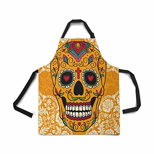 InterestPrint Adjustable Bib Apron for Women Men Girls Chef with Pockets, Mexican Sugar Skull Day Of The Dead Lace Novelty Kitchen Apron for Cooking Baking Gardening Pet Grooming Cleaning by InterestPrint