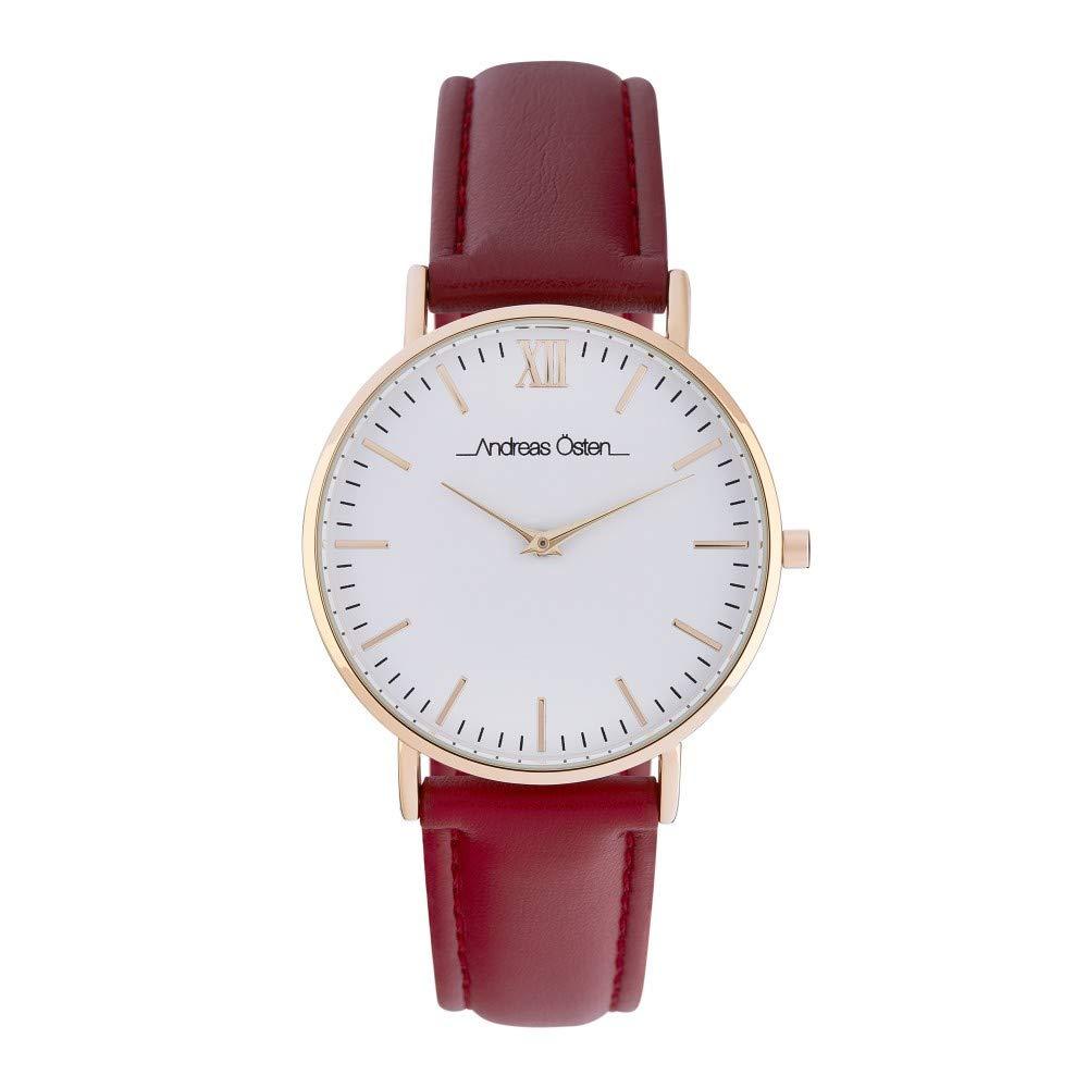 Montre Femme Andreas Osten à Quartz Cadran Blanc 36mm Et Bracelet Doré En PU AOS18050