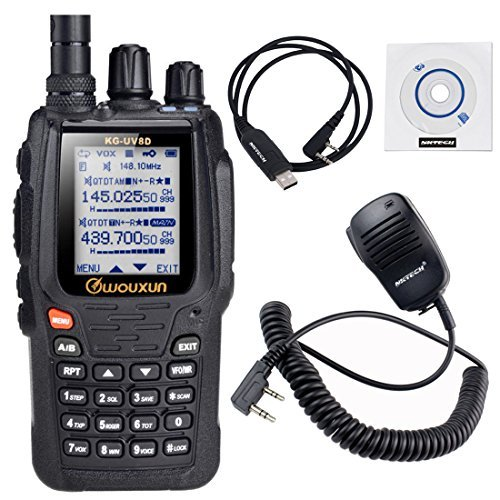 NKTECH USB Programming Cable & Remote Speaker Mic and WouXun KG-UV8D 134-174/400-480MHz Duplex Dual Band Cross Repeater 1700mAh Battery Two Way Radio by NKTECH
