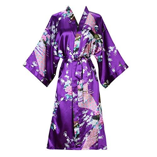 ellenwell Women's Kimono Robe Peacock & Blossoms Satin Nightwear Long(Medium,Purple)