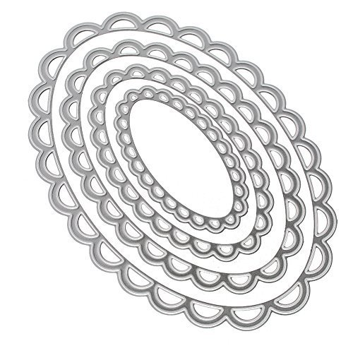Oval Lace - Whitelotous Metal Frame Set Cutting Dies Stencil Template Mould for DIY Scrapbook Album Paper Card (4pcs Oval Lace Frame)