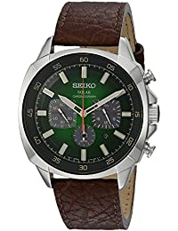 SSC513 Solar Chronograph Stainless Steel and Leather Watch (Brown)