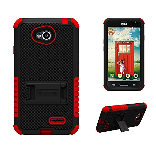 ([Dirtproof] High Impact Armor Hybrid Hard + Soft Rugged Phone Case with 3 Layers of Protection & built in kickstand for LG Optimus L70 (Metro PCS)/ LG Realm LS620 (Boost Mobile) - Black/Red - FREE Screen Protector & Retail Packaging)