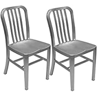 Alex Land Modern Brushed Aluminum Dining Chair - Indoor or Outdoor (Pack of 2)