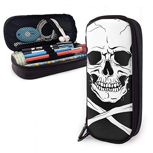- Synthetic Leather Pen Case Pirate Black Flag with Skull and Crossbones Pencil Bag Zippered Pencil Pouch Pen Holder Case for School Work Office