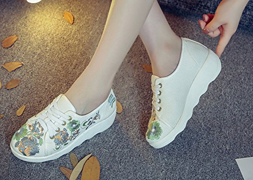 Avacostume Canvas Ricamo Slip Slip Travel Walking Sneaker Beige