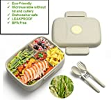 Bento Lunch box for Adults & Kids, 5 compartment,Healthy BPA Free, Eco Friendly -Rice Fiber, Durable, Reusable, Perfect To Go Storage, Microwave Dishwasher Safe (Fork & Spoon INCLUDED)