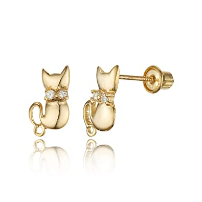 bbb60a7f7 Amazon.com: 14k Yellow Gold Cat Cubic Zirconia Children Screwback Baby Girls  Stud Earrings: Jewelry