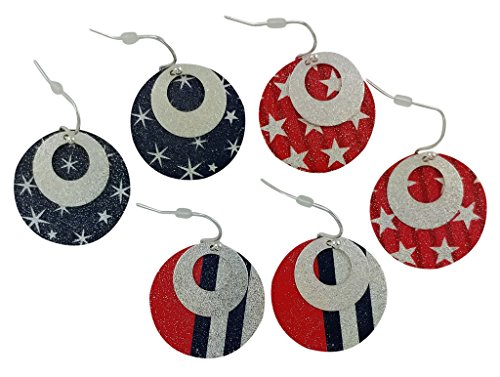 Set of 3 Stars and Strips Patriotic Red, White (Silver) and Blue Round Earrings, Silver Plated