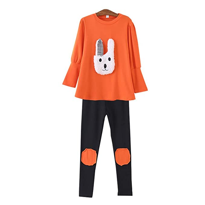 7bf725f10797 My Sky Little Girls 2 Pieces Clothing Set Bunny Outfit Dress Top+Leggings  Pants Orange