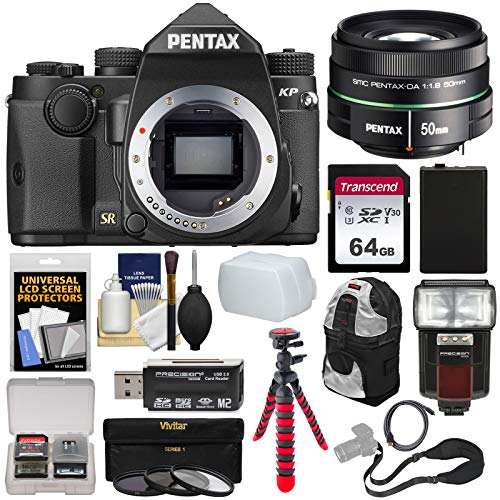 Pentax KP Wi-Fi Digital SLR Camera Body (Black) with DA 50mm f/1.8 Lens + 64GB Card + Battery + 3 UV/CPL/ND8 Filters + Flash + Backpack + Tripod + Kit