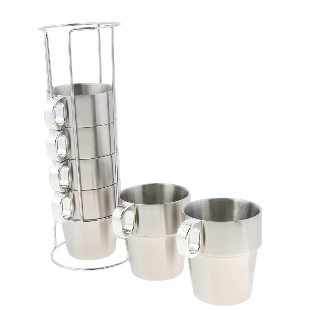 Baosity Stackable Stainless Steel Coffee Cups Tea Cups with Handle Double Layer Heat Insulated with Stand 4/6 Cups Optional