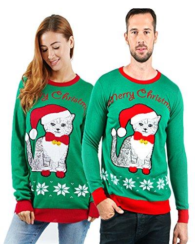 uideazone Men Women Cute Meowy Cat Ugly Christmas Sweater Casual Sweater, Green 9, Medium -