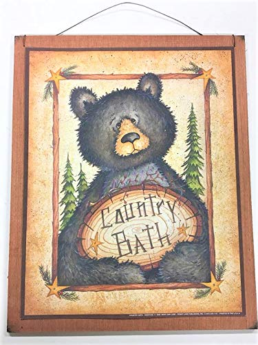 Amazon.com: Black Bear Country Bath Wooden Wall Art Sign Lodge ...