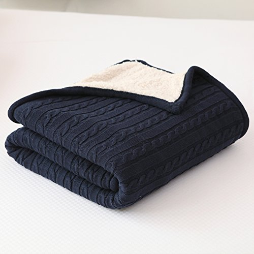 NEW YEAR GIFT SALES!CottonTex Cotton Knitted Cable Blanket w/ Sherpa Lining 47x70 inches Ideal for Warm Keeping, Navy