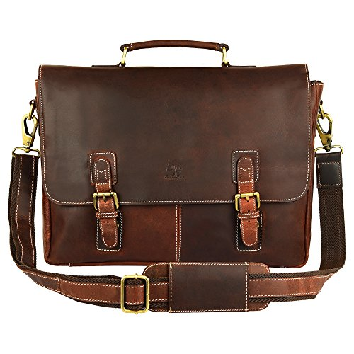 Leather Laptop Carriers'' (Rustic Town 15 Inch Leather Messenger Bag Cross Body Satchel Bag Gift Men Women Laptop Bag (Dark Brown))