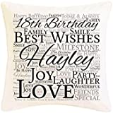 Personalised 18th Birthday Word Art Faux Silk Cushion. Personalised details required. by Pure Essence Greetings