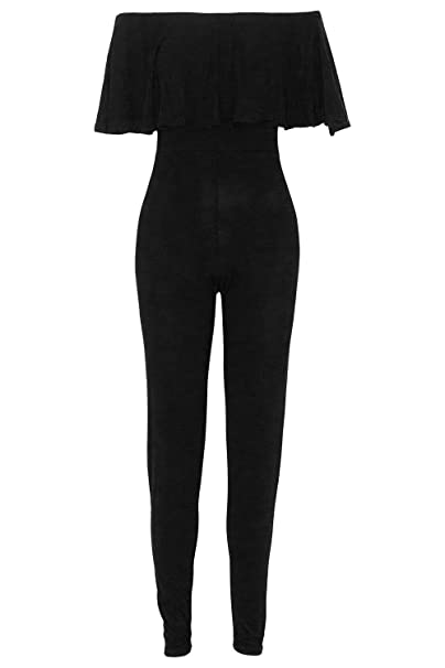 6e54fc1c1d5 Womens Off The Shoulder Bardot All in One Peplum Frill Playsuit Jumpsuit   Amazon.co.uk  Clothing