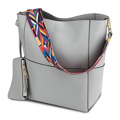 Viitop.eu Tasche Damen Leder Schulter mit Gitarrengurt Mehrfarbig Strauß Schultertasch Hobo Handtasche Shopper Beuteltaschen