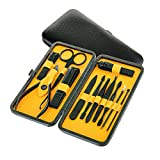 Euryno Professional Stainless Steel Black Polishing Nail Clipper Travel & Grooming Kit Nail Tools Manicure & Pedicure Set of 12 pcs with Case Yellow